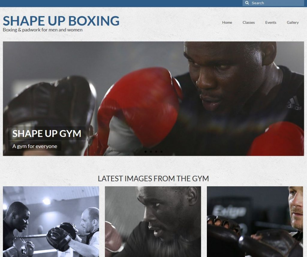 Shape Up Boxing website